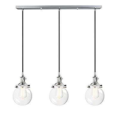"""Phansthy Vintage Industrial Chandeliers 3 Light Kitchen Island Lighting Fixture with 3pcs 5.9"""" Globe Clear Glass Canopy"""