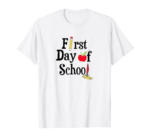 First Day Of School Iscrizione Insegnante Allievo Maglietta