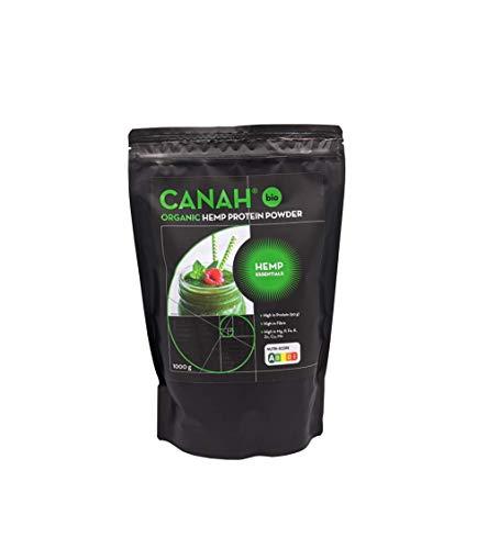 Natürliches Hanfproteinpulver durch Canah 1 kg BIO - mit hohem Gehalt an Omega-3 Protein, Aminosäuren, Mineralien, Magnesium-Phosphor-Eisen und Zink – veganische Supernahrungsmittel kalt verarbeitet