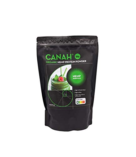 Organic Hemp Protein Powder by Canah 1 kg – High in Protein Omega 3 Amino Acids Minerals Magnesium Phosphorus Iron and Zinc - Vegan Protein Superfood Cold Processed