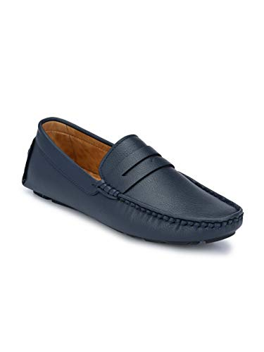 FENTACIA Men Driving Penny Loafers(Fully Flexible) (Blue, Numeric_8)