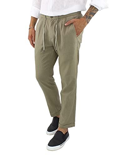 Ciabalù Pantaloni Lino Uomo Estivi Leggeri Modello Capri con Laccio in Vita e Tasca America (Verde, 48)