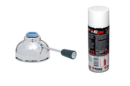 Sicherheits-Gasbrenner Kisag 1 KW für alle herkömmichen Fondue Rechaud Gestelle & Kigas 400ml Nachfüllflasche Ersatzgas