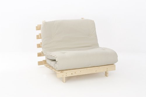 Comfy Living 3ft Single (90cm) Wooden Futon Set with PREMIUM Cream/Natural Mattress