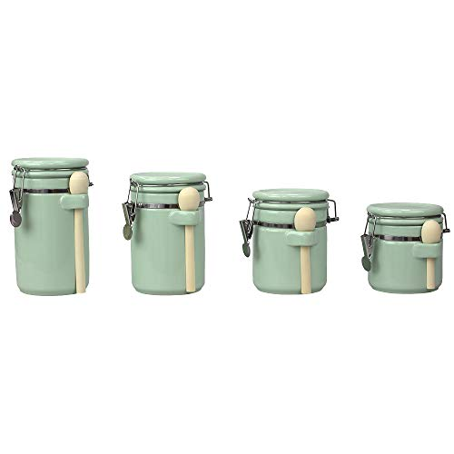 Home Basics Mint 4PC Ceramic Canister Set WSpoon