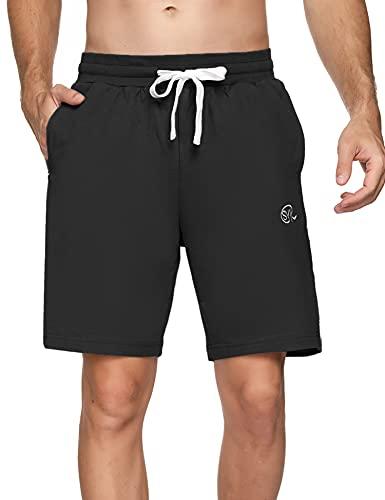 Sykooria Pantalones Cortos Hombre Deporte 100% Algodón Verano con 3 Bolsillo Pantalón Corto Hombre para Running Fitness Gym Tennis,Negro,XL