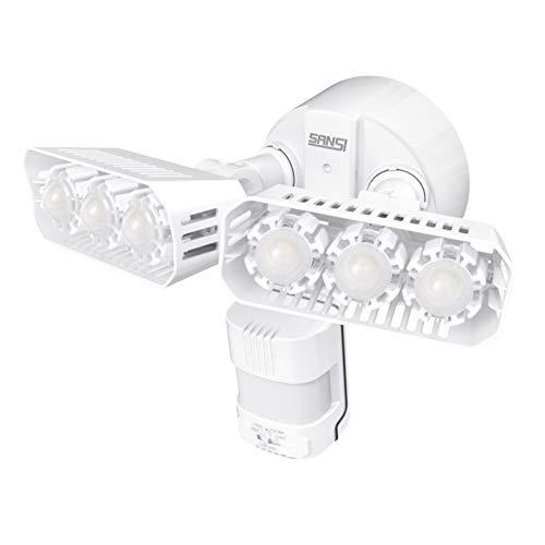 LED Strahler mit Bewegungsmelder Außen, SANSI 27W 2700lm LED Außenleuchte mit Bewegungsmelder, 5000K Superhell Sicherheitslicht, IP65 Wasserdicht Beleuchtung für Garage, Weiß