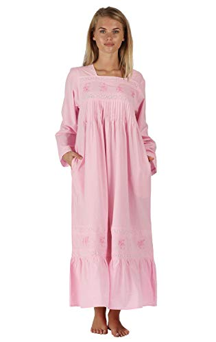 The 1 for U Cotton Nightgown with Pockets - White (XXL / 2X, Pink)