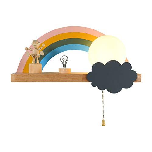 OOWOKS Lámpara de Pared en Forma de Nube lámpara de Dormitorio de Madera para niños, Regulable con Interruptor de Tiro, Ligero Pared para Interiores para niños, lámpara para niños, luz Nocturna, E27