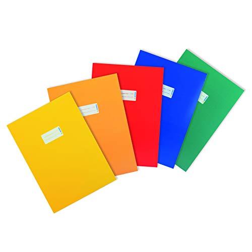HERMA 20227 Karton Heftumschläge DIN A4, Hefthüllen mit Beschriftungsfeld, aus stabilem und extra starkem Papier, 5er Set Heftschoner für Schulhefte, gelb, orange, rot, blau, grün