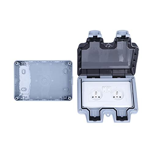 Toma exterior impermeable IP66 Estándar francés 250V 16A Toma de interruptor de pared exterior resistente a la intemperie Tomacorrientes dobles
