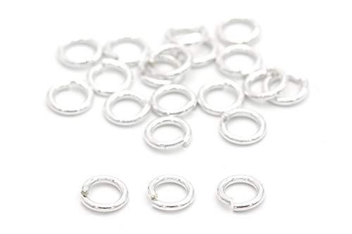 NaturSchatulle Anillos dobladores, plata de ley 925, diámetro de 4 mm, 5 unidades, anillos divididos, anillos de conexión, ojales, manualidades, fabricación de joyas, sin níquel