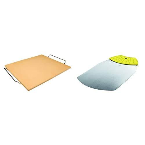 IBILI 784340 Piedra para Pizza Rectangular 41X36X1,50 + 781700 Pala-Base para Tartas Y Pizzas Rect.