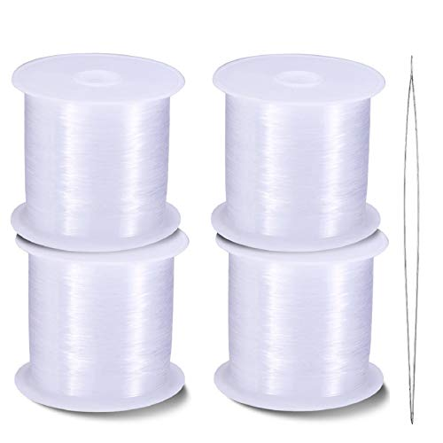 4 Rolls of Clear Nylon Invisible Thread Strings for Hanging Christmas Ornaments, Sew Hobby, Bracelet Making Clear Beading Threads with Convenient Bead Needle(0.25 mm, 0.35 mm, 0.45 mm, 0.6 mm)