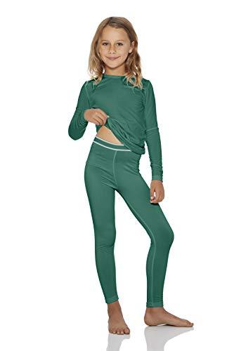 Rocky Thermal Underwear for Girls Fleece Lined Thermals Kids Base Layer Long John Set Jade