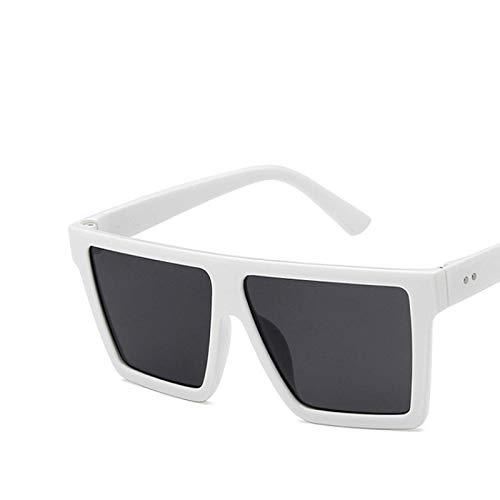 NJJX Gafas De Sol Cuadradas De Gran Tamaño Para Mujer, Montura De Lente De Una Pieza, Gafas De Sol Clásicas Clásicas Para Mujer, Espejo De Sombra, Blanco, Gris