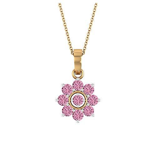 Rosec Jewels 18 quilates oro amarillo redonda Pink Tourmaline