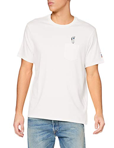 Levi's Mens Relaxed Fit Pocket Tee T-Shirt, Back Flip Snoopy Marshmallow, L