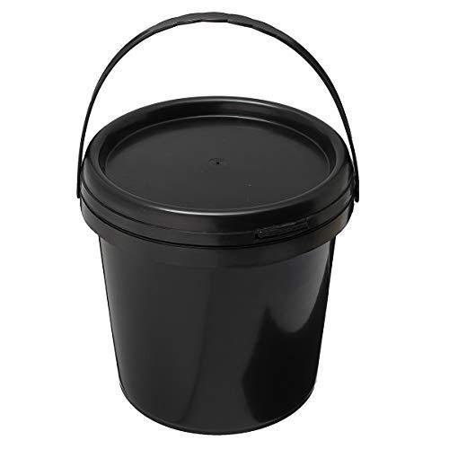 NOBRAND 5L Sistema de hidroponía de Cubo de Agua Redondo de plástico DWC Barril químico Grueso Negro con Mango de Tapa