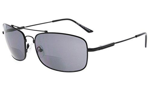 Eyekepper Bifokal Sonnenbrille mit biegsamer Brücke und Bügel Erinnerung Lesen Sonnenbrille Leicht Titan (Schwarz Rahmen Grau Linse, 2.50)