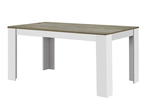 Agionda® Esstisch Toledo in Weiss Sandeiche Nebraska Eiche 120 x 80 cm Kratzfeste Melamin Oberfläche
