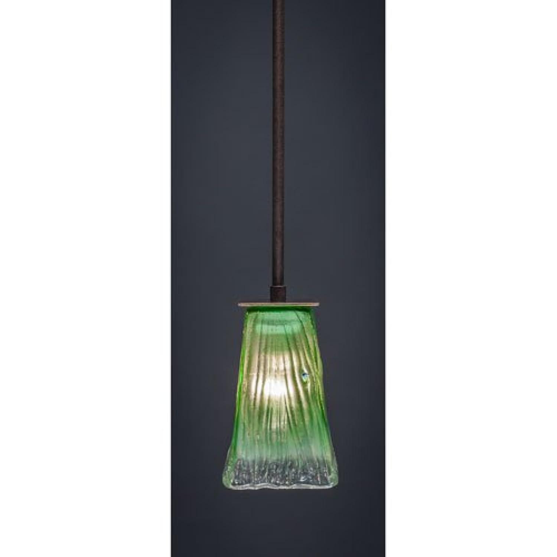 Toltec照明アポロDark Granite Stem 5インチのミニペンダントSquare Kiwiグリーンクリスタルガラス