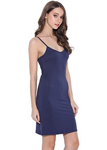 Women Long Spaghetti Strap Full Cami Slip Camisole Under Dress Liner Medium Navy