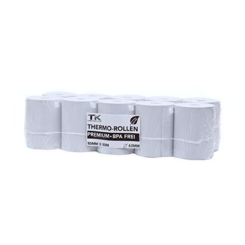 5 rotoli di carta termica premium 80 mm x 63 mm x 12 mm – 50 m – Carta termica per caramelle (80 63 12) – Certificati per stampanti di cassa, come Epson, IBM, Metapace e molto altro ancora.