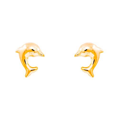 Pendientes de delfín, oro amarillo (375/1000)