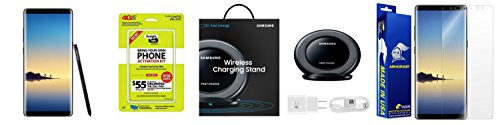 Straight Talk Samsung Galaxy Note 8 64GB Midnight Black with Free Samsung Quick Charge Wireless Charging Pad & Armorsuit Screen Protector Bundle