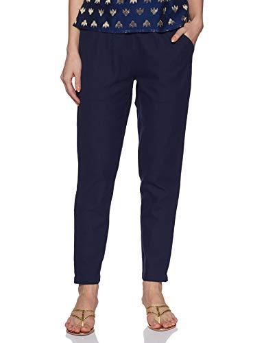 Jaipur Kurti Women's Solid Regular Trouser (Jkpat007-M_Navy Blue_Medium)