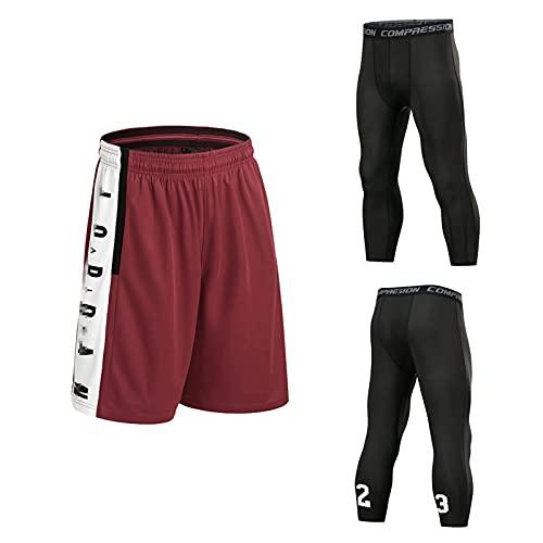 Mikelabo Pantalones cortos de baloncesto de la NBA para hombre, de verano, 3/4 Wine-red-tz XXL