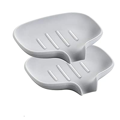 Aship 2 Pack Soap Dish with Drain - Silicone Soap Holder for Bathroom Sink, Self Draining Soap Tray for Kitchen Counter, Easy Clean Shower Bar Soap Saver, Keep Soap Dry- Gray