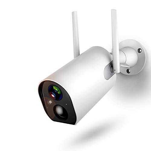 Überwachungskamera Aussen mit Akku,1080P Outdoor WLAN Kamera mit 10400mAh Batterie,4DB Wireless Antenna,Nachtsicht Modus,Zwei Wege Audio,IP66 Wasserdicht