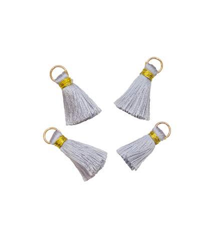 Boutique Des Colors – Lote de 4 Pompones Decorativos, diseño de glande – Charm – Creación – Color Gris 25 mm