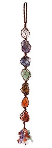 Jovivi 7 Chakra Gemstones Healing Feng Shui Crystals Window Hanging Ornament Dowsing Pendulum Good Luck Home Car Decoration for Reiki Healing Yoga Meditation,Worry Palm Tumbled Stones