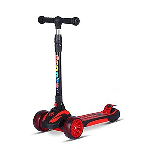 XCVMKH Scooter para niños, plegable, con un clic, ajustable en altura, ensanchamiento y engrosamiento con ruedas de poliuretano que absorben los golpes, adecuado para niños y niñas mayores de 3 años p