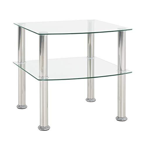 Haku-Möbel 15208 Beistelltisch, Sicherheitsklarglas, Edelstahl-Klarglas, 45 x 45 x 44