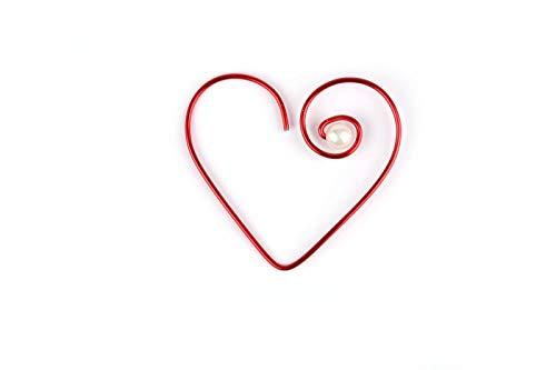 Onbekend aluminium parelhart open, 5 cm klein, rood hart 16 stuks