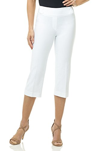 Rekucci Women's Ease into Comfort Capri with Button Detail (14,White)