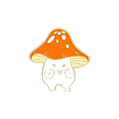 Pilz-Brosche mit Cartoon-Motiv, niedliches Pilzmesser, Gitarre, Emaille, für Studenten, Schmuck, Geschenk – 3