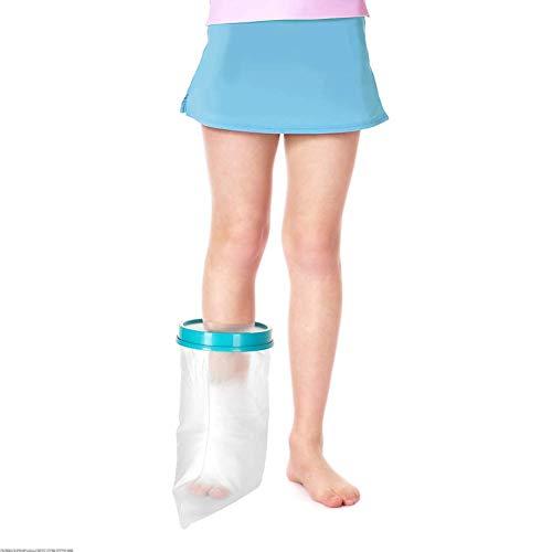 Wasserdichter Gips-und Verbandschutz beim Duschen Kinder Fußgelenk-Überzug für Dusche, Wasserdichte Gipsbandage für Kinder gegen gebrochene Füße Knöchelverletzungen (31 cm)