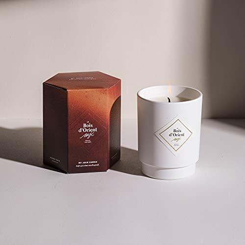 My Jolie Candle, candela profumata con gioiello all'interno ambra (il legno d'oriento), bracciale in argento, 50 ore di combustione, cera 100% naturale vegetale, 250 g