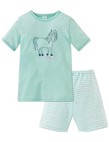 Schiesser Mädchen Ponyhof Md Anzug kurz Zweiteiliger Schlafanzug, Grün (Mint 708), (Herstellergröße: 116)
