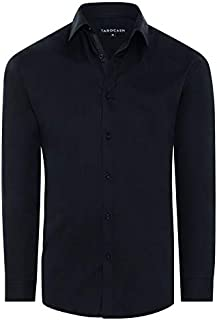 Tarocash Men's Bahamas Slim Stretch Shirt Cotton Blend Slim Fit Long Sleeve Sizes XS-5XL for Going Out Smart Occasionwear
