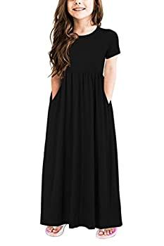 GORLYA Girl s Short Sleeve Floral Print Loose Casual Holiday Long Maxi Dress with Pockets 4-12 Years  9-10Years/Height 140cm Black Color