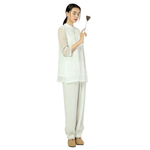 KSUA Tuta da Meditazione Zen Donna Abito Tradizionale Cinese Tai Chi Uniform Arti Marziali Esercizi mattutini Abbigliamento Kung Fu, Bianco EU S/Etichetta M