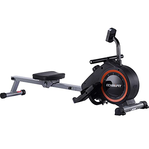 ECHANFIT Magnetic Rowing Machine with 16 Levels Tension Resistance Exercise for Whole Body w/LCD Monitor, Strength Training Equipment, Quite for Home Use