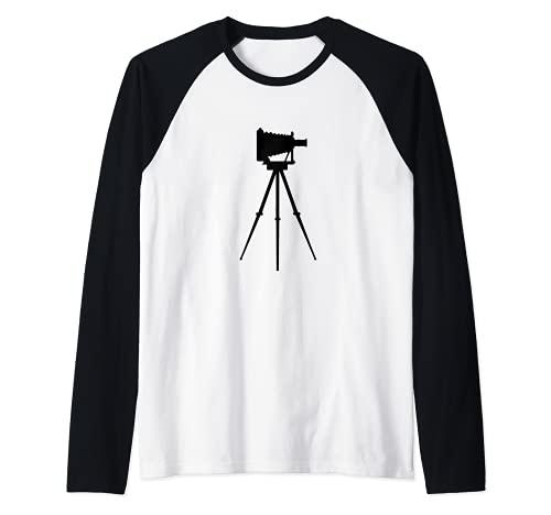 Fotógrafo de cámara antigua Camiseta Manga Raglan