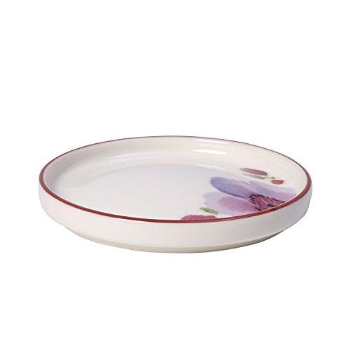 Villeroy & Boch Mariefleur Tea Teebeutel, Geschirr aus Hochwertigem Premium in Pink und Grün und Orange, 9 cm Tteebeutel Ablage, Porzellan, Weiß, 12 x 12 x 3 cm,